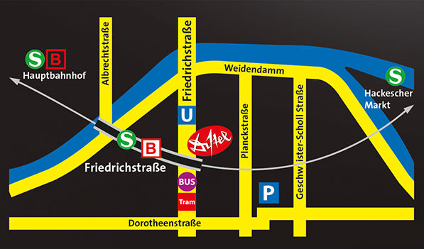 Kabarett-Theater DISTEL in Berlin - Lageplan